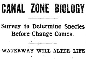 Headline announcing the Biological Survey [of the Panama Canal Zone], The Washington Post, April 9, 1911 located at: http://www.mnh.si.edu/onehundredyears/expeditions/Panama.html
